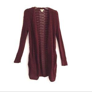 Lucky Brand longsleeve long maroon knit cardigan S